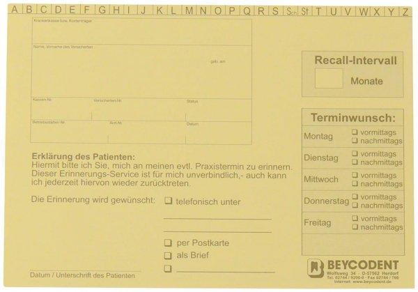 Recall-Karteikarte - Packung 100 Karten gelb von Beycodent