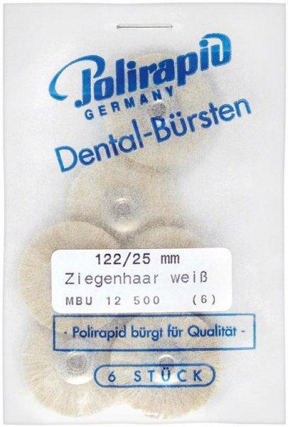 Miniaturbürste - Packung 6 Bürsten, Ziegenhaar weiß, Ø 25 mm, unmontiert von Polirapid
