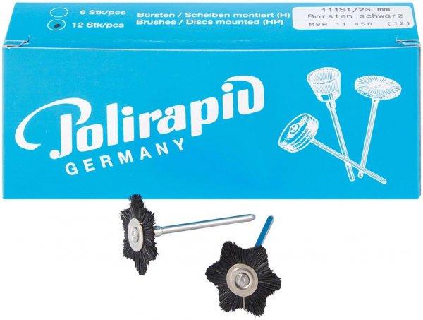 Miniaturbürste - Packung 12 Bürsten sternförmig, Borste schwarz, Ø 23 mm von Polirapid