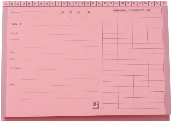 Karteimappe A5/SL - Packung 100 Mappen rosa ohne Heftzunge von Beycodent