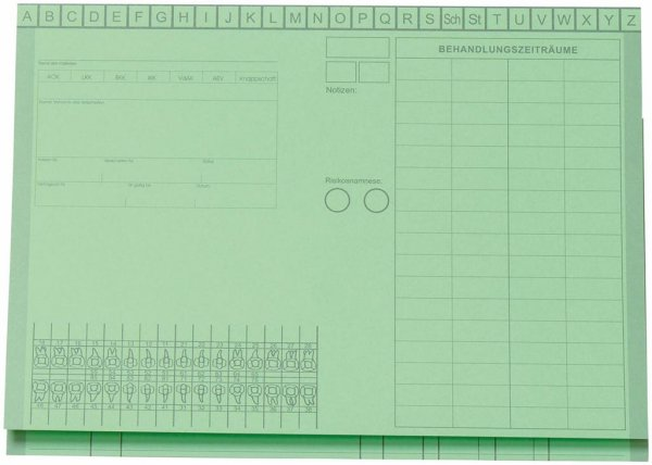 Kartei-Faltmappe A5 - Packung 100 Mappen grün von Beycodent