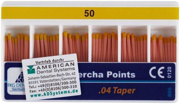 FKG Gutta Percha - Packung 60 Stück Taper.04 ISO 050 von American Dental