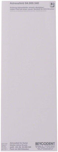 Adressfeldstreifen - Packung 200 Streifen blanco von Beycodent