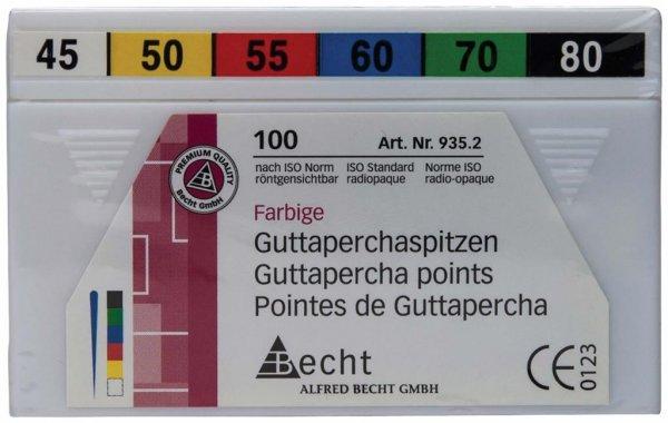 Guttaperchaspitzen farbig - Sortiment 100 Stück ISO 045-080 von Becht