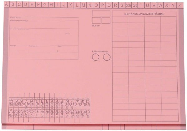 Kartei-Faltmappe A5 - Packung 100 Mappen rosa von Beycodent