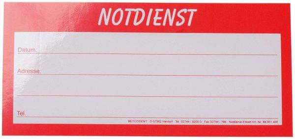 Notdienst Etiketten - Packung 20 Etiketten 20 x 9,5 cm von Beycodent