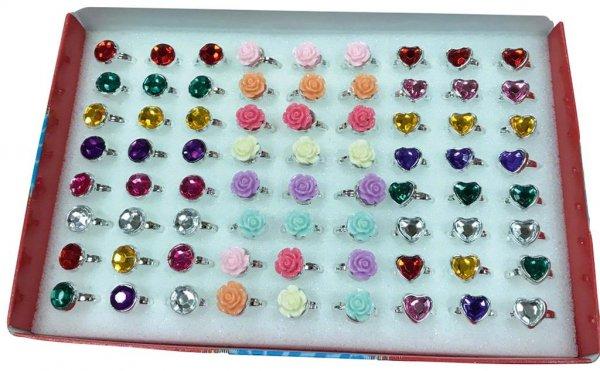Ringe mit Herz und Blume - Packung 72 Ringe von MirusMix