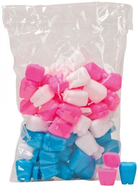 Zahnbehälter - Packung 72 Mini-Zahnbehälter 3 cm, sortiert (weiß, blau, ros ... von MirusMix