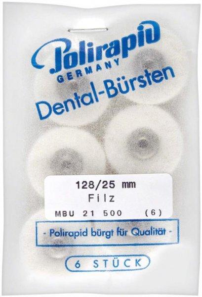 Miniaturbürste - Packung 6 Bürsten, Filz, Ø 25 mm, unmontiert von Polirapid