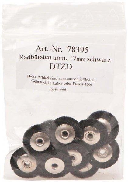Radbürste Handstück - Packung 12 Bürsten unmontiert Borsten schwarz 17 mm von OMNIDENT