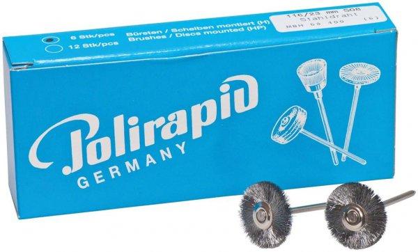 Miniaturbürste - Packung 6 Bürsten, Stahldraht 0,08 mm, Ø 23 mm von Polirapid