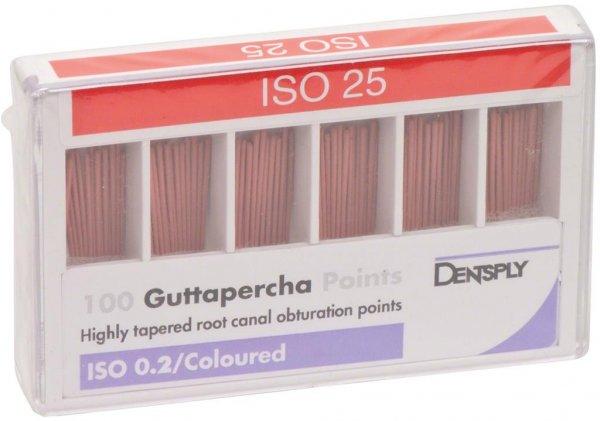 Guttapercha ISO-Norm, farbcodiert - Packung 100 Stück ISO 025 von Dentsply Sirona