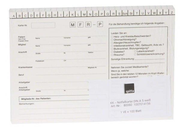 Notfallkartei - Packung 100 Karten von Spitta Verlag