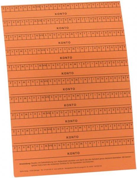 Alphabetleisten DIN A5 - Packung 10 Leisten orange von Spitta Verlag