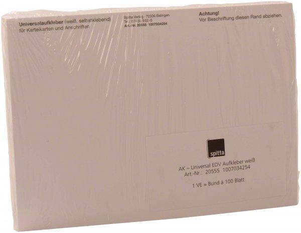 Universal EDV Aufkleber - Packung 100 Blatt weiß von Spitta Verlag