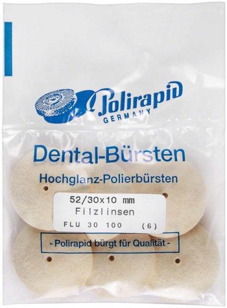 Filzlinse - Packung 6 Filzlinsen 52/30 x 10 mm von Polirapid