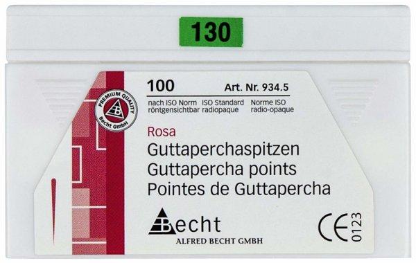 Guttaperchaspitzen rosa - Packung 100 Stück ISO 130 von Becht