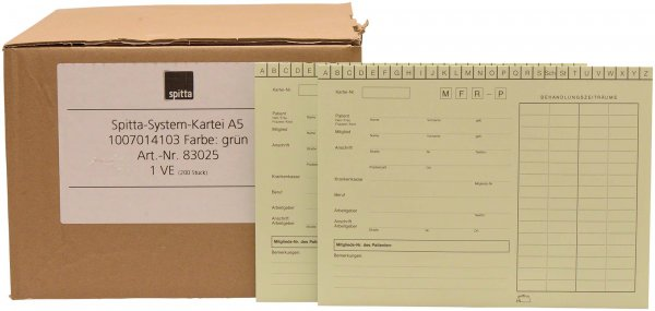 System Karteikarten A5 - Packung 200 Karten grün von Spitta Verlag