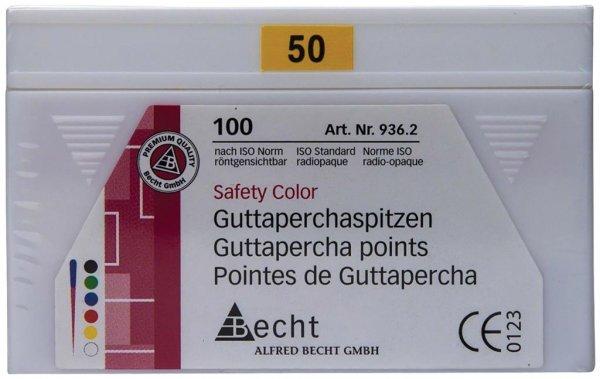 Guttaperchaspitzen Safety Color - Packung 100 Stück ISO 050 von Becht