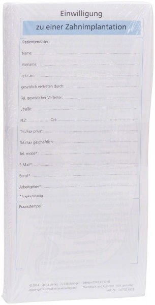 Einwilligung zur einer Zahnimplantation - Packung 50 Blatt von Spitta Verlag