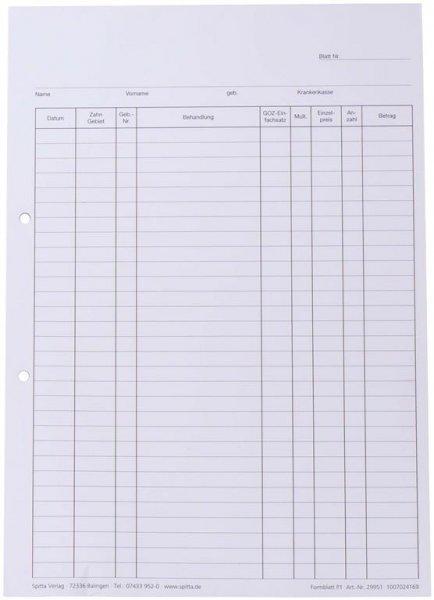 Krankenblatt P1 - Block 100 Blatt seitlich gelocht, A4 von Spitta Verlag