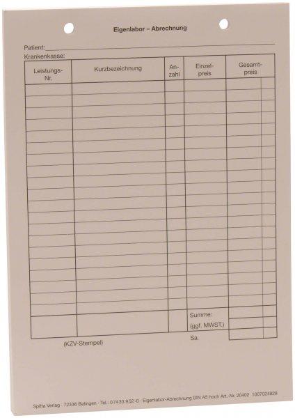 Formulare - Block 100 Blatt Eigenlabor-Abrechnung weiß, A5 von Spitta Verlag