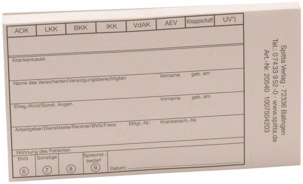 Patientenstammdaten - Block 50 Blatt von Spitta Verlag