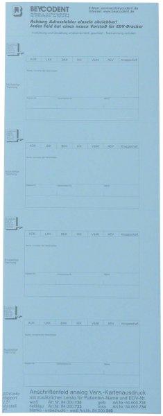 Adressfeld Chipkarte für Kartei - Packung 200 Etiketten blau von Beycodent