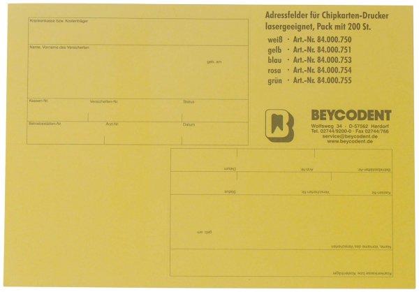 Adressfelder für Chipkarten-Drucker - Packung 200 Etiketten gelb von Beycodent
