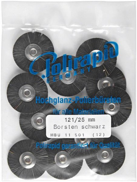 Miniaturbürste - Packung 12 Bürsten, Borste schwarz, Ø 25 mm, unmontiert von Polirapid