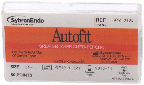 Autofit Guttapercha - Packung 50 Stück 135 mm, Taper.12 von SybronEndo