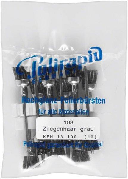 Kelchbürsten - Packung 12 Bürsten, Ziegenhaar grau von Polirapid