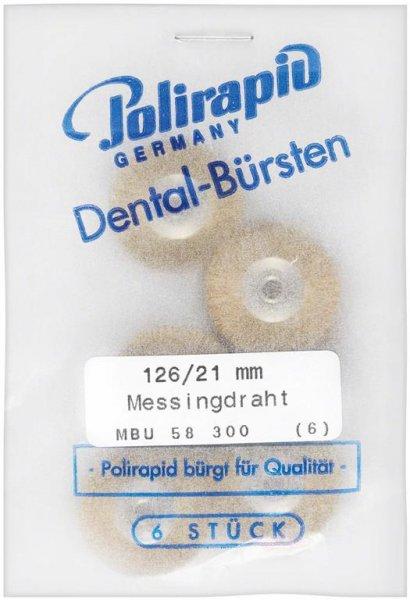 Miniaturbürste - Packung 6 Bürsten, Messingdraht 0,08 mm, Ø 21 mm, unmontiert ... von Polirapid