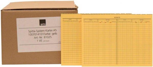 System Karteikarten A5 - Packung 200 Karten gelb von Spitta Verlag