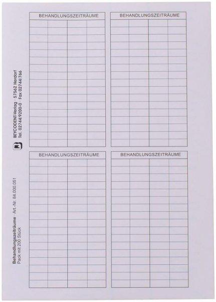 Etikett Behandlungszeiträume - Packung 200 Stück 78 x 141 mm von Beycodent