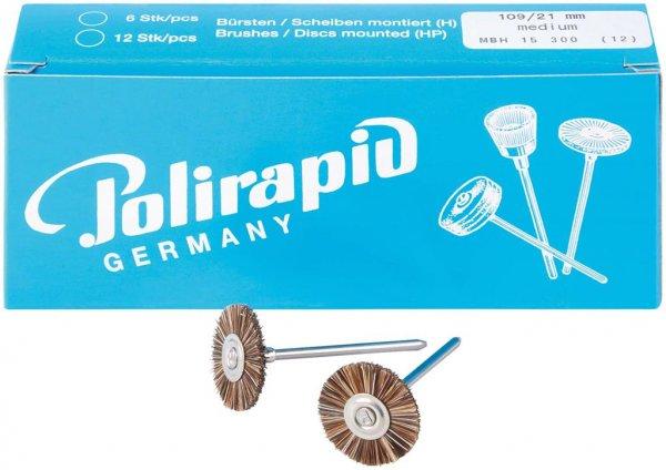 Miniaturbürste - Packung 12 Bürsten, Roßhaar, Ø 21 mm von Polirapid