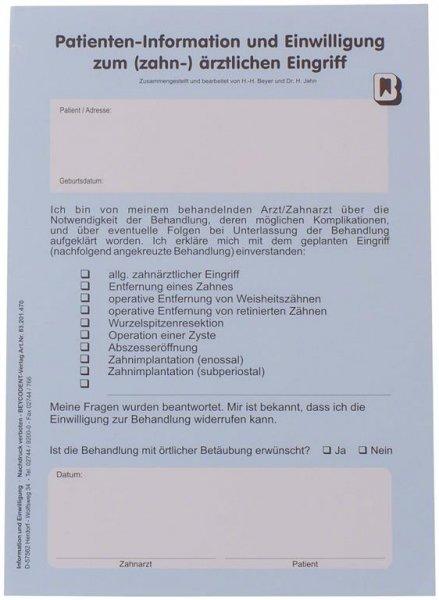 Patienten-Information und -Einwilligung - Block 100 Flyer von Beycodent