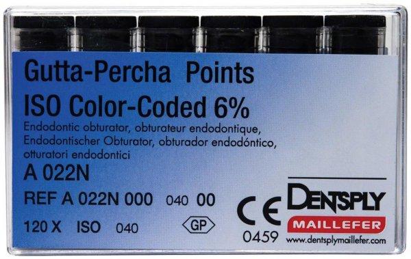 Gutta-Percha Spitzen - Packung 120 Stück Taper.06 ISO 040 von Dentsply Sirona
