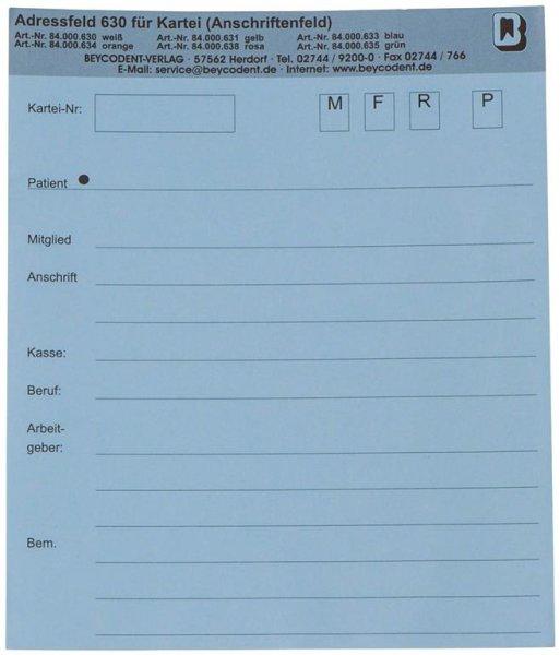 Adressfeld 630 - Packung 200 Blatt blau von Beycodent