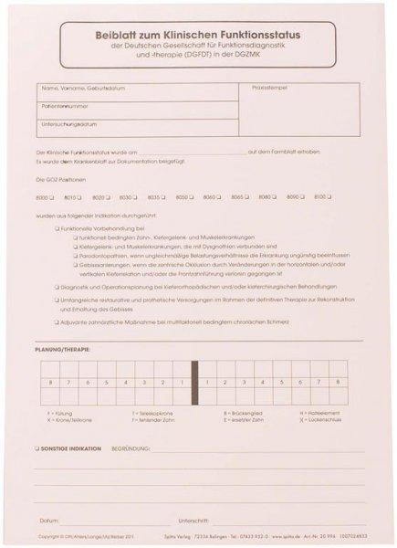 Beiblatt Klinischer Funktionsstatus - Block 100 Blatt von Spitta Verlag