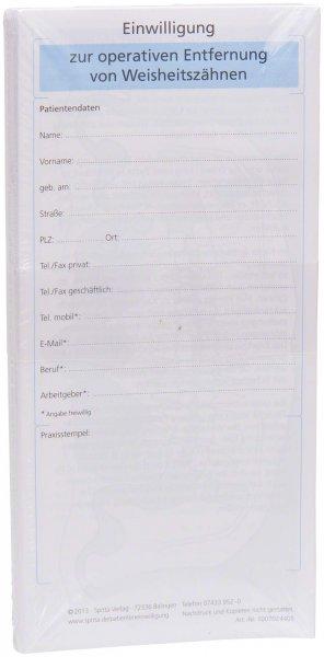 Einwilligung Entfernung Weisheitszähne - Packung 50 Blatt von Spitta Verlag