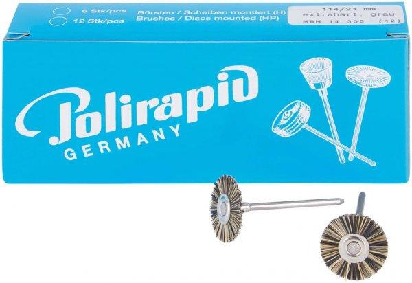 Miniaturbürste - Packung 12 Bürsten, Borste extrahart, Ø 21 mm von Polirapid