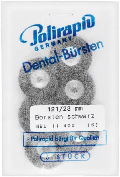 Miniaturbürste - Packung 6 Bürsten, Borste schwarz, Ø 23 mm, unmontiert von Polirapid