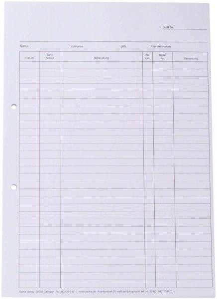 Krankenblatt - Block 100 Blatt B1, A4 von Spitta Verlag