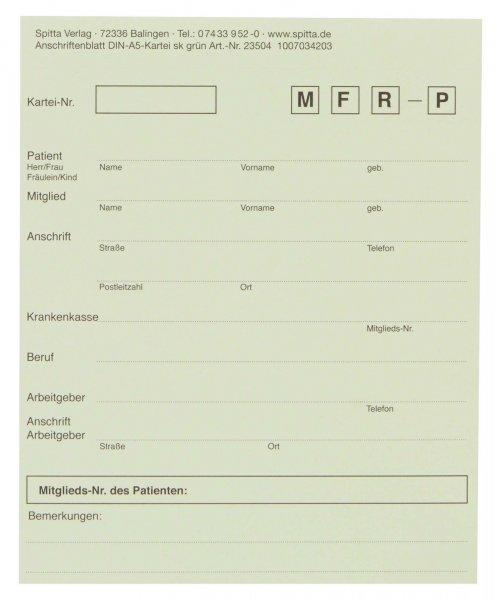 Adressaufkleber DIN A5 - Block 50 Aufkleber grün von Spitta Verlag