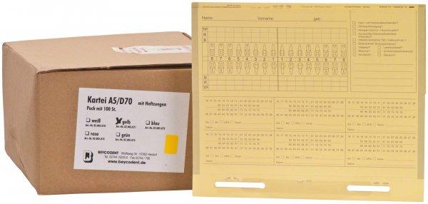 Karteimappe A5/D70 - Packung 100 Mappen gelb von Beycodent