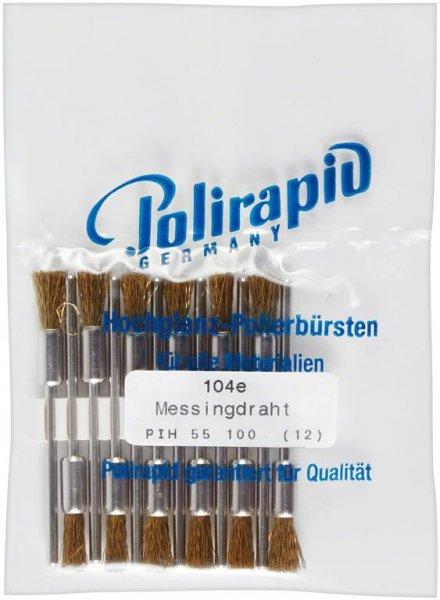 Pinselbürsten - Packung 12 Bürsten mit Handstück, Messingdraht von Polirapid
