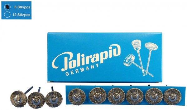 Miniaturbürste - Packung 6 Bürsten, Stahldraht 0,12 mm, Ø 19 mm von Polirapid
