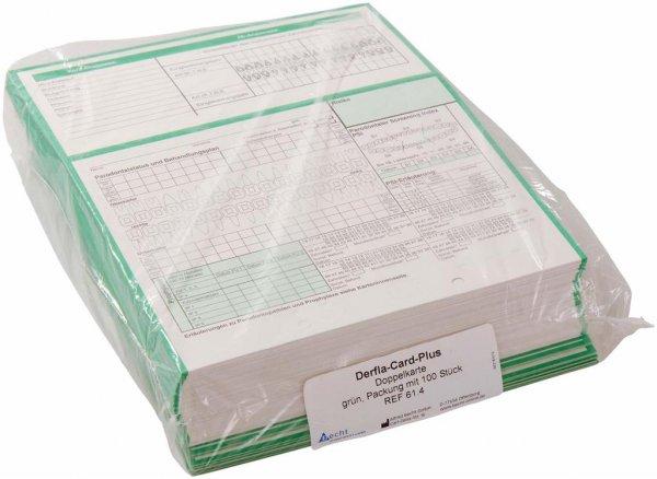 Derfla-Card-Plus - Packung 100 Doppelkarten grün von Becht
