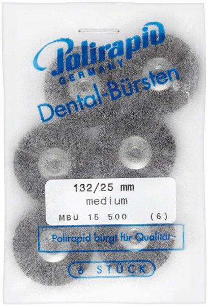 Miniaturbürste - Packung 6 Bürsten, Roßhaar, Ø 25 mm, unmontiert von Polirapid